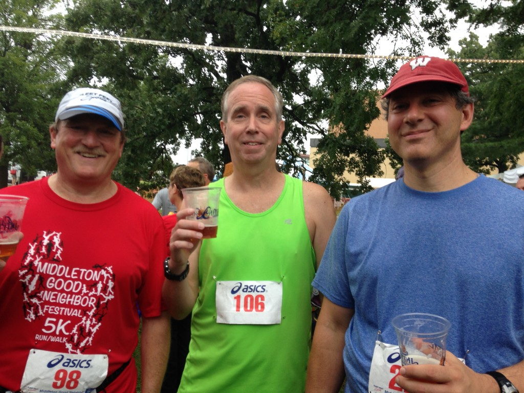 After the race we made the usual stop at the beer tent to replenish fluids.
