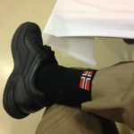 Lucky Norwegian Flag socks at Kommers, June 2016