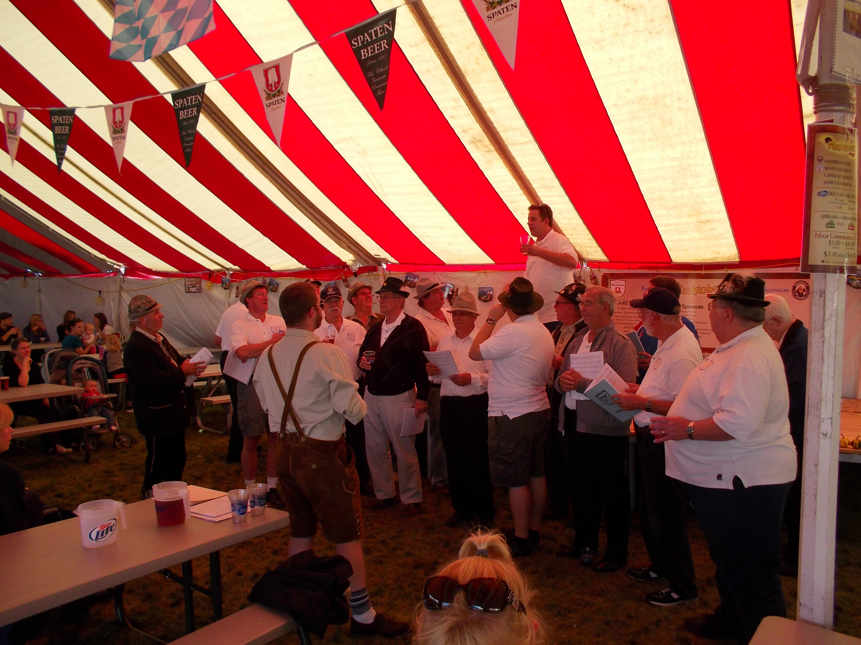 Getting ready to sing Ein Prosit during our second set