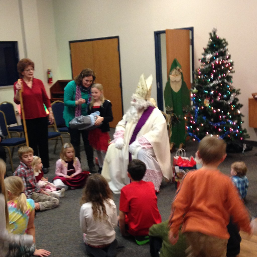 Sankt Nikolaus and his helpers handed out gifts to all of the children