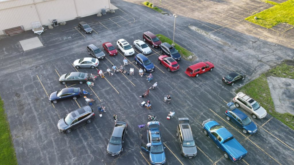 Choir meeting in the Turner Hall parking lot, June 4, 2020.